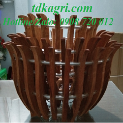 chậu gỗ trồng lan hình hoa sen 2