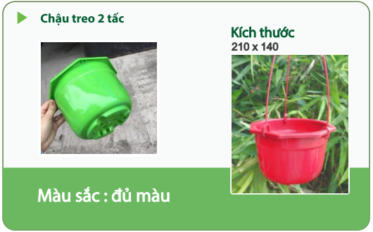 Chậu nhựa trồng cây CHẬU TREO 2 TẤC 1