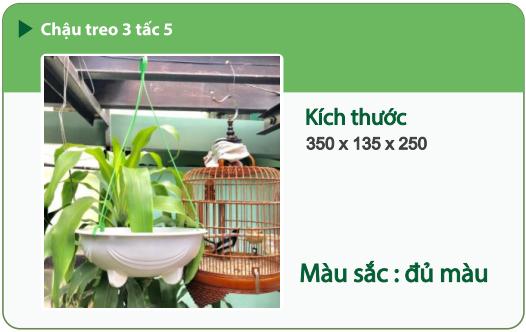 Chậu nhựa trồng cây CHẬU TREO 3 TẤC 5